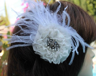 Very  cute chiffon flower white  color   with feather back clip