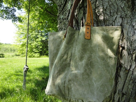 Upcycled VINTAGE MILITARY canvas Tote/Weekender bag leather rifle sling straps