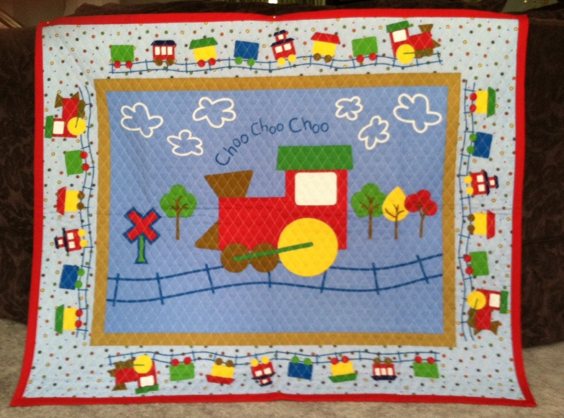 Train Quilted Baby Blanket Panel Nursery Wall Hanging Primary