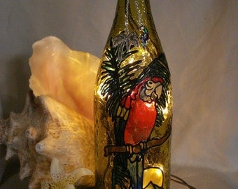 Parrot Wine Bottle Lamp