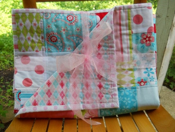 Reduced Free Shipping Riley Blake Sugar and Spice Red Hot Aqua Pink Modern Girl BabyToddler Child Quilt Crib Pallet