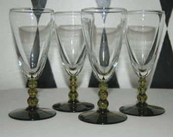 Vintage Champagne Flutes Goblets with Green Bubble Stems Set of Four