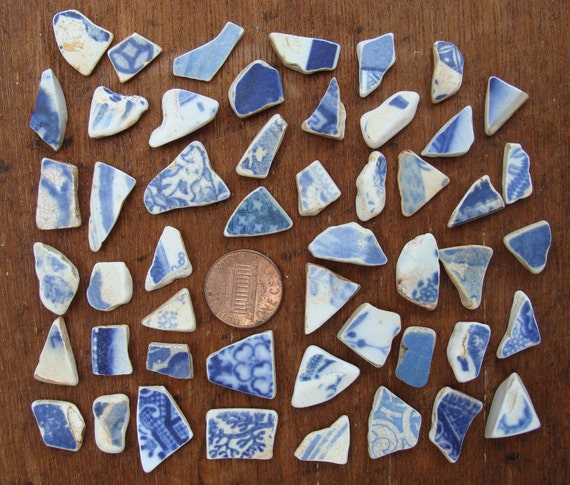 Tiny Blue & White English Sea Pottery Shards, good for beads (Sea Glass)
