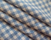 Vintage French Blue and White Check Gingham Plaid