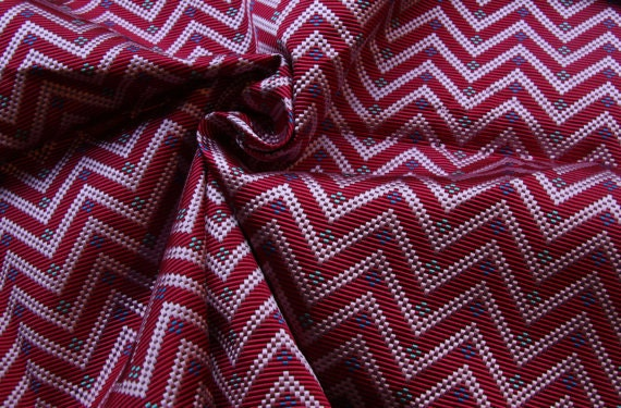 20x24 vintage rich pure silk woven fabric tie silk holland and Sherry pink zig zag