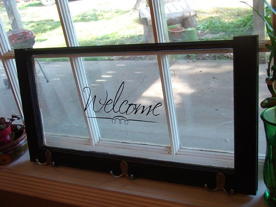Old Wooden Window With Vinyl Lettering