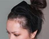 Black velvet bow headband