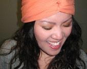 2-in-1 style jersey knit stretch turband (turban headband - tangerine orange)