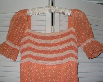 Vintage  Formal Dress Peach Dotted Swiss