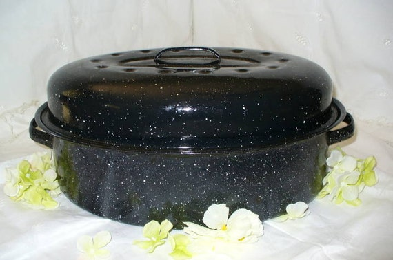 Vintage Black Graniteware Roaster Pan