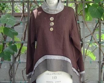 SALE Long Sleeve Tunic,100%  Heavy Linen