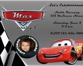 Auto Einladung   Disney Cars Benutzerdefinierte Geburtstag Einladung    Lightning McQueen