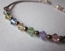 Vintage Sterling Silver & Multi-Colored Plastic Gemstones