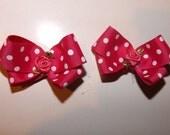 Set of Two Fuchsia Pink Polka Dot Hair Bows
