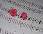 Resin Pink Vintage Style Rose Earrings Hypo-Allergenic Posts