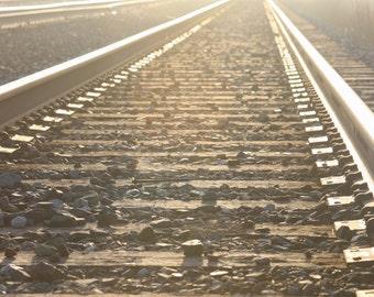 Fine Art Photography -Railroad Tracks - Rails, into the fog