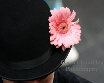 Fine Art Photography - Bowler Hat with pink Gerber Daisy.