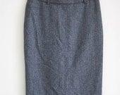Grey Wool Pencil Skirt - Button Details
