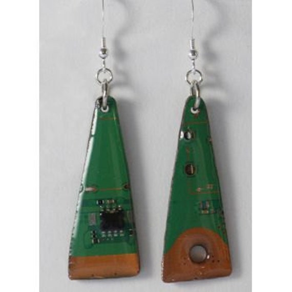 PS3 Circuit Board Triangle Upcycled Earrings