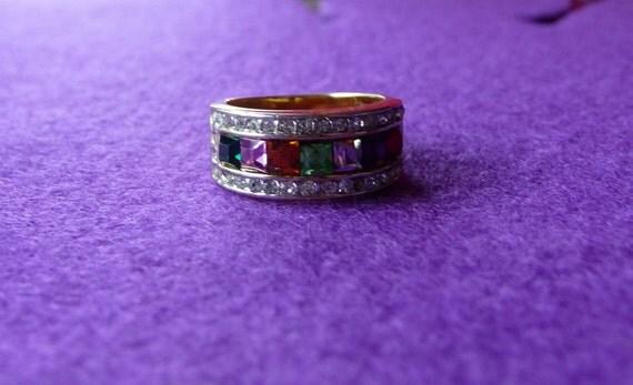 Rainbow Gemstone and Gold Ring