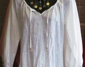 Pure Linen Peasant Top - Large