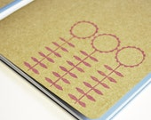 Hand Printed A5 Notebook - Skinny Flowers in Chalky Plum