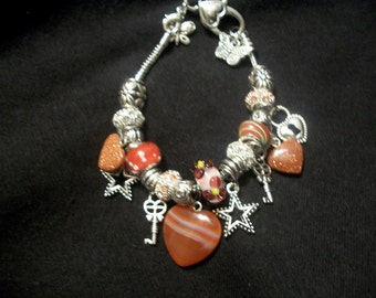 hearts and stars charm bracelet