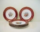 Vintage Fruit Design Limoges France Plates