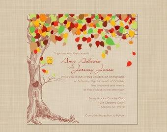 Autumn Wedding Invitation - Rustic, Vintage, Shabby Chic - Fall - Owl Wedding Invitation