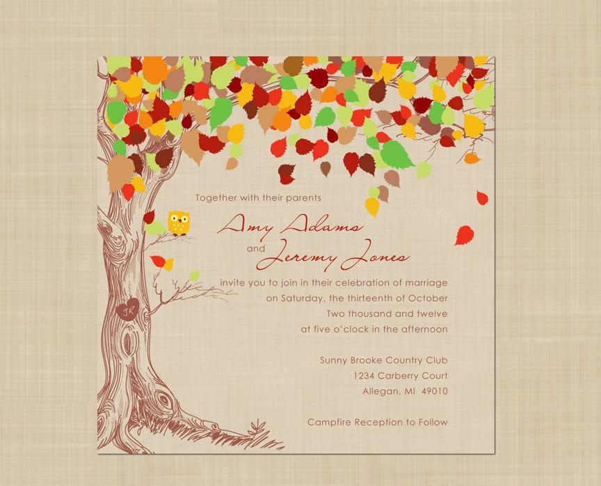 Fall Wedding Invitation Wording: Autumn Wedding Invitation Rustic Vintage By Colorsplashdesign