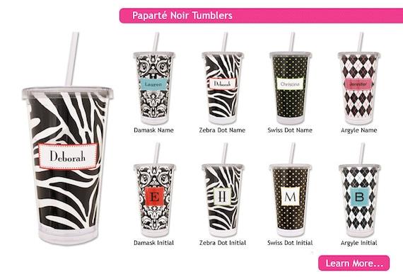 Personalized Plastic Tumblers with straw - zebra tumblers, damask tumblers, polka dot tumblers or argyle tumblers