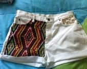 tribal print studded shorts