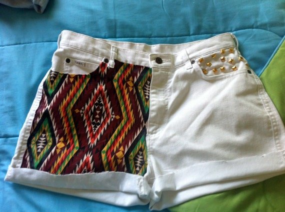 tribal print studded shorts
