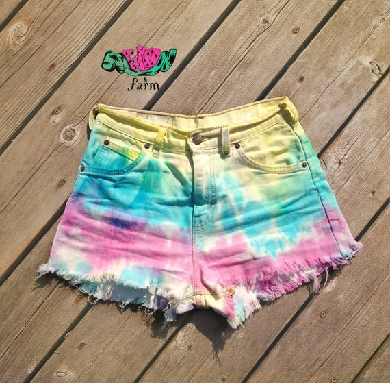 high waisted tie dye levis shorts by melonfarm on etsy