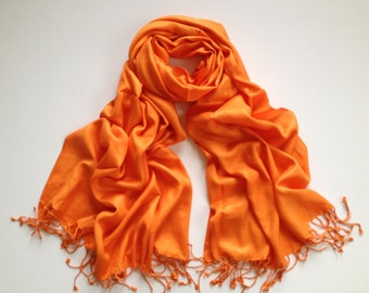 SALE orange cashmere feel-like pashmina scarf, orange scarf feels like cashmere shawl, bargain priced orange pashmina, orange pashmina scarf