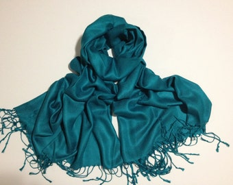 SALE teal cashmere feel-like pashmina scarf, teal scarf feels like cashmere shawl, bargain priced teal pashmina, pashmina scarf, pashmina