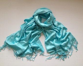 light aqua pashmina scarf, blue pashmina shawl, blue fashion scarf, pashmina scarf, pashmina shawl, scarf, shawl