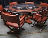 Handcrafted Table and Chairs from Wheel of a Sailing Ship