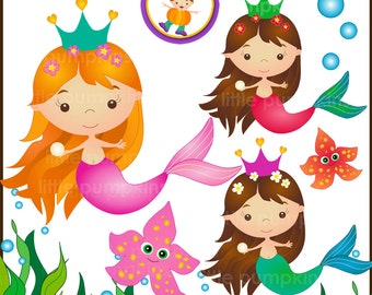 MERMAIDS 2 - Clip art set in Jpeg & Png files.