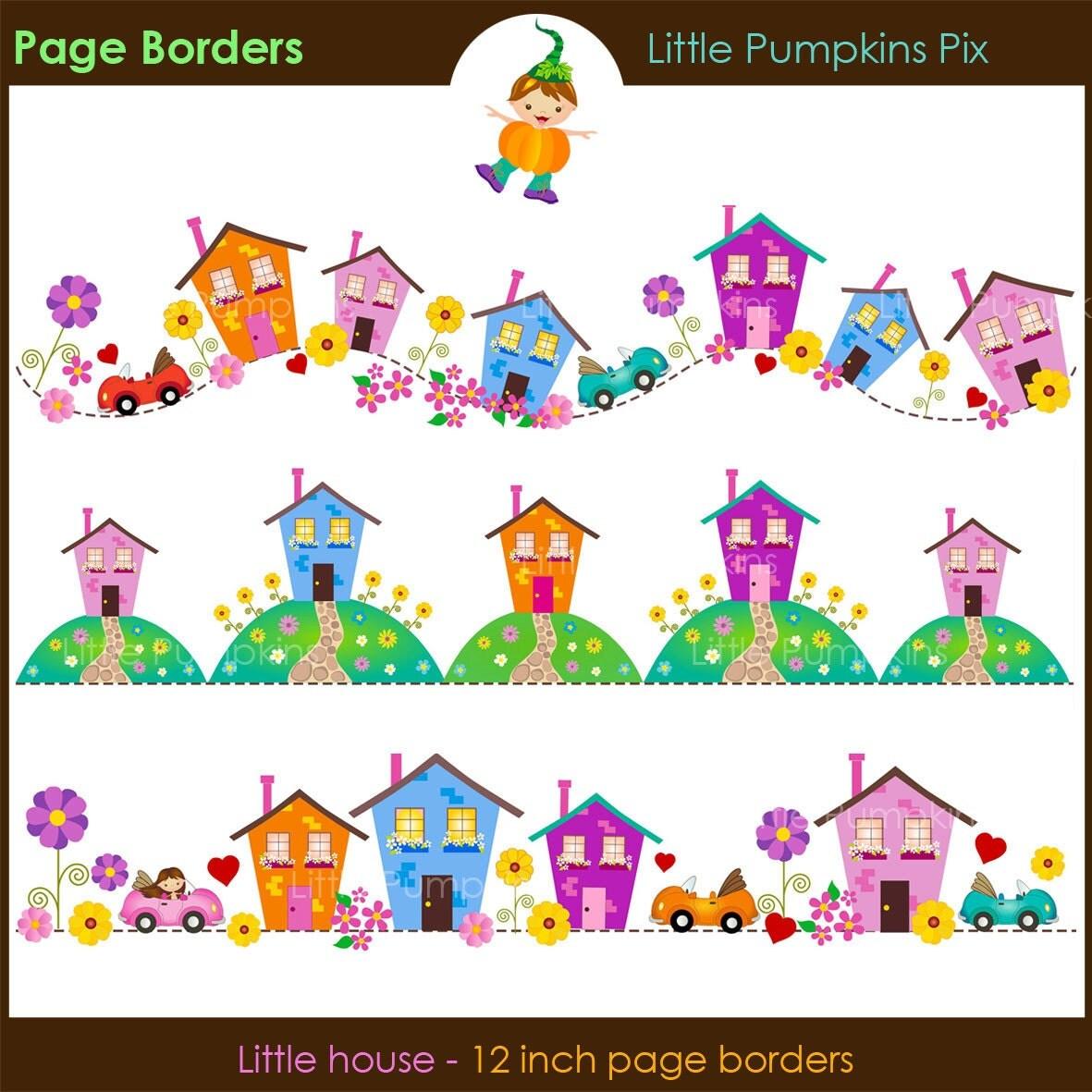 LITTLE HOUSE Digital Scrapbook Page Borders. Cute house