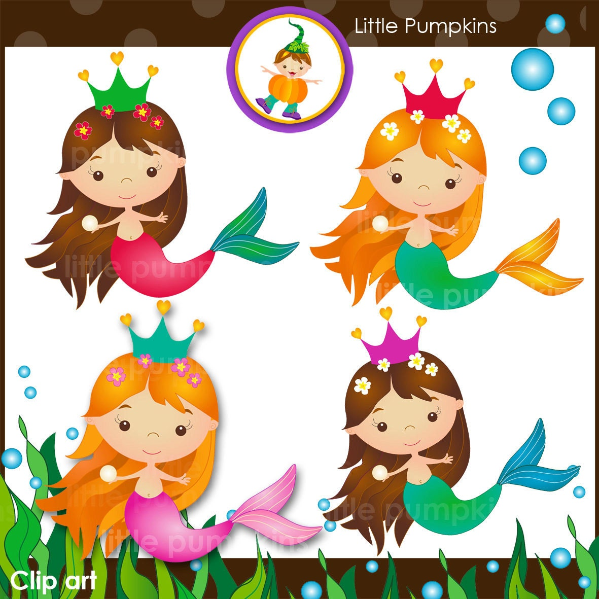 INSTANT DOWNLOAD Mermaid clip art set with sea weed page