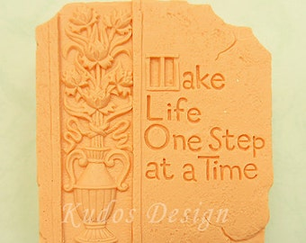 TH054 Make life one step at a time Soap Mold, soap mold, silicone soap mold (Kudos Design, Kudosoap) Taiwan