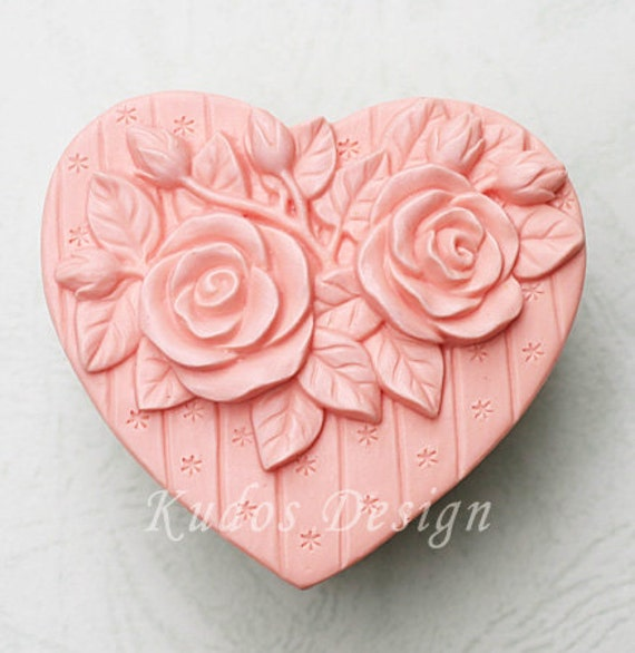 HR002 Roses with Love Soap Mold, soap mold, silicone soap mold (Kudos Design, Kudosoap) Taiwan