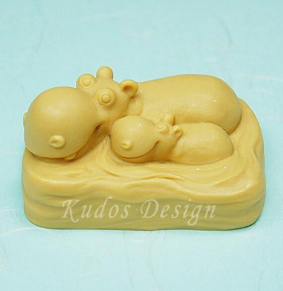 TW024 Hippo Family Soap Mold, soap mold, silicone soap mold (Kudos Design, Kudosoap) Taiwan
