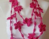 hand crochet hot pink flower necklace lariat scarf