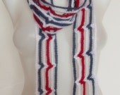 hand crochet scarf red white blue valentines day mothers day gift patriotic4th of july christmas in july sale