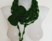 ON SALE hand crochet infinity scarf mothers day valentines day gift for her green with hand crochet bow christmas in july sale