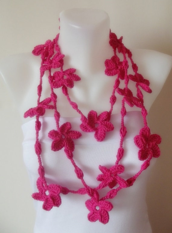 hand crochet hot pink flower necklace lariat scarf