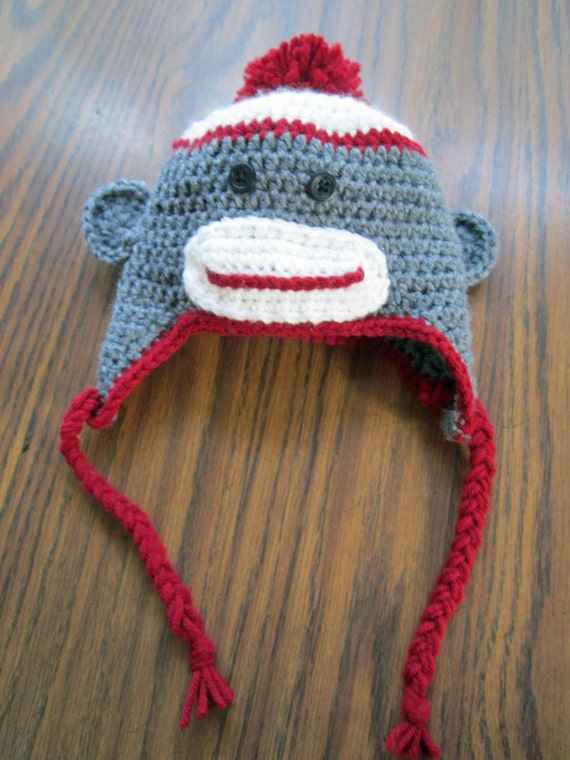 Newborn/infant sock monkey hat