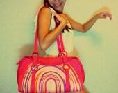 Beach Bag, Large Shoulder Bag, Fashion bag, Tote Spring Purse, Summer, Red Pink, Straw